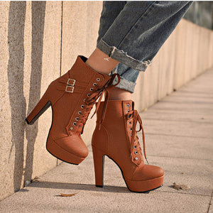 Platform High Heels Plus Size Ankle Boots For Women
