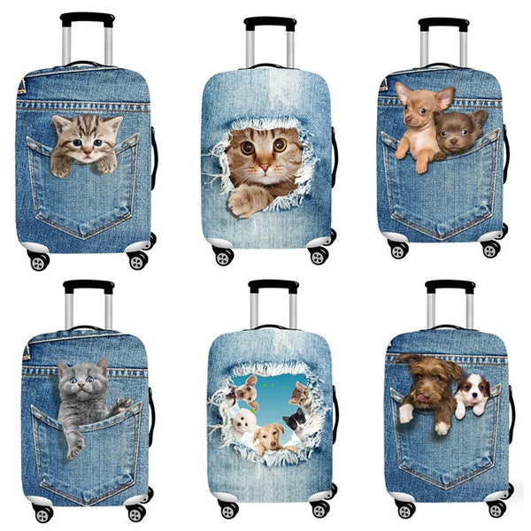Cute Cat & Dog Dust Proof Protective Travel Suitcase Cases - shoppingridge