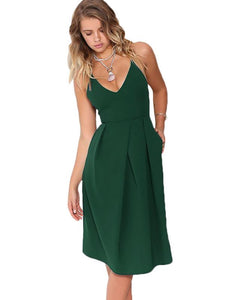 New Backless Adjustable Straps Long Dress with Pocket - shoppingridge