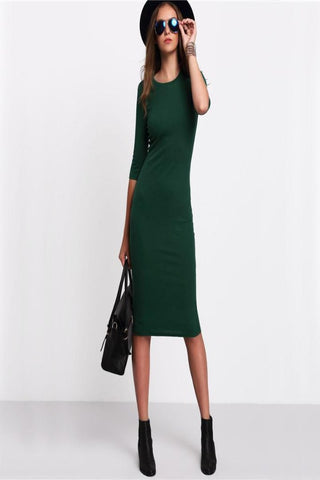 Summer Style  Green Crew -Neck Half Sleeve Midi Dress - shoppingridge