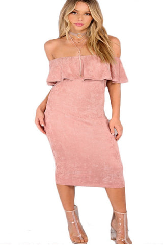 Women's Backless Party Dress-Sexy Shoulder Ruffle Dress - shoppingridge
