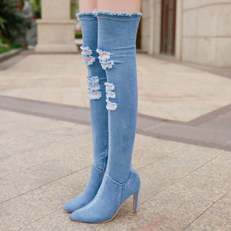 e75b2fa69cd6 High Quality Tight Stretch Over The Knee Jean Boots – Shopping Ridge