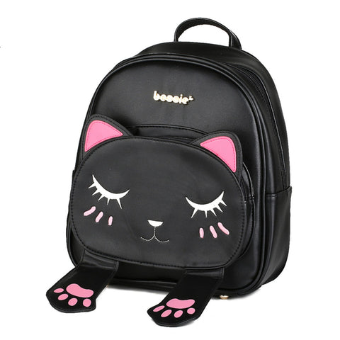 Cute Cat Pu Leather Backpacks for Teenage Girls/Women