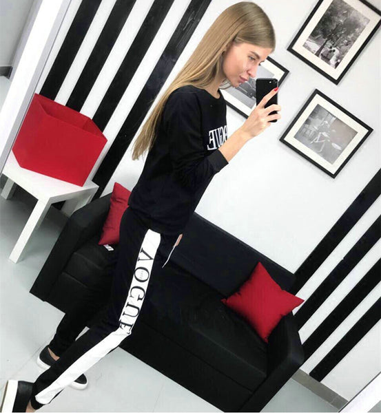 Women VOGUE Letters Printed Sweatshirt+Pants - shoppingridge