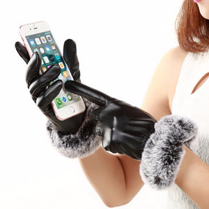 Elegant PU Leather High quality Wrist Warm Gloves/Mittens - shoppingridge