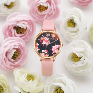 Flowers Leather Simple Women's Bracelet and Dress Watches