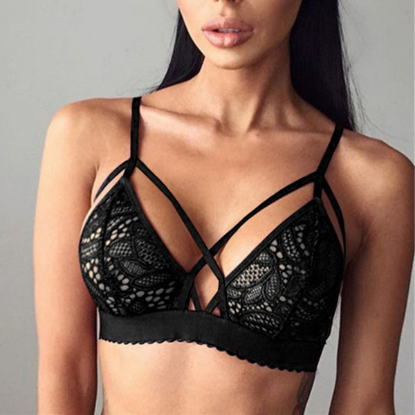 Women Sexy Cross Bandage Top Floral Lace Bra - shoppingridge
