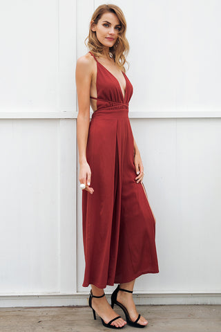 Hot V-Neck Backless Jumpsuit Dress for Women - shoppingridge