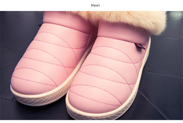Women's PU Waterproof Snow / Fur Ankle Boots - shoppingridge