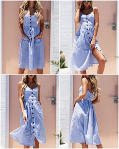 Striped Button Beautiful casual Long Strap Dress - shoppingridge