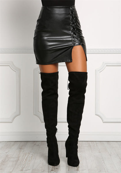 Black Lace Up Leather Side Split Body-con Pencil Skirts - shoppingridge