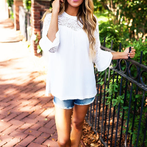 Summer Top Long Sleeve Elegant White Transparent Blouse - shoppingridge