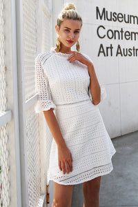 White Sleeveless Elegant Hollow out Lace Dress - shoppingridge