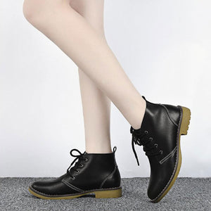 PU Leather Classical Lace Up Women's Ankle Boots