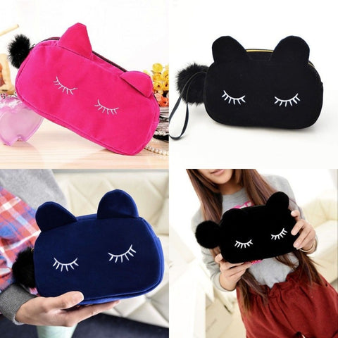 Cartoon Cat Coin Storage Cosmetic Bag Cases For Women