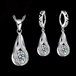 Romantic 925 Sterling Silver Necklace & Earrings Set - shoppingridge