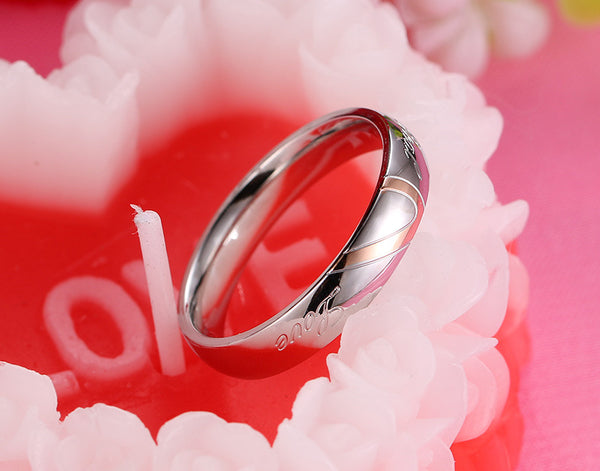 Titanium Stainless Steel Silver Color Couple Love Rings - shoppingridge