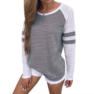 Fashion O Neck Long Sleeve Baseball T-Shirt for Women