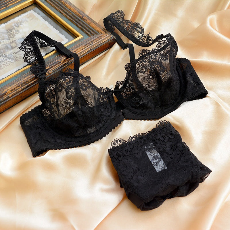 Newest Sexy Ultra-Thin Push Up Transparent Lace Bra & Brief Set - shoppingridge