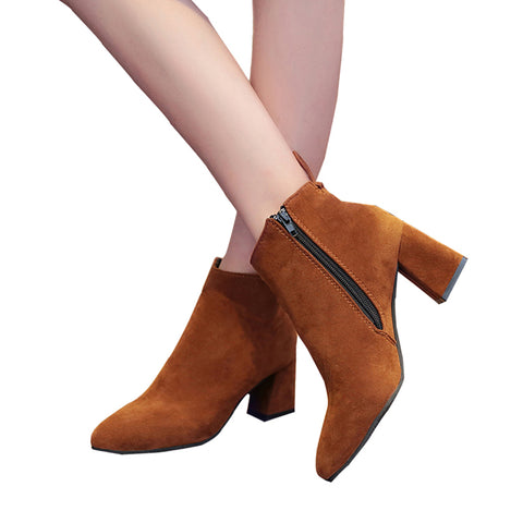 Thick High Heels LeatherAnkle Boots