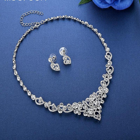 Heart Crystal  Silver Color Rhinestone Wedding Jewelry Sets - shoppingridge