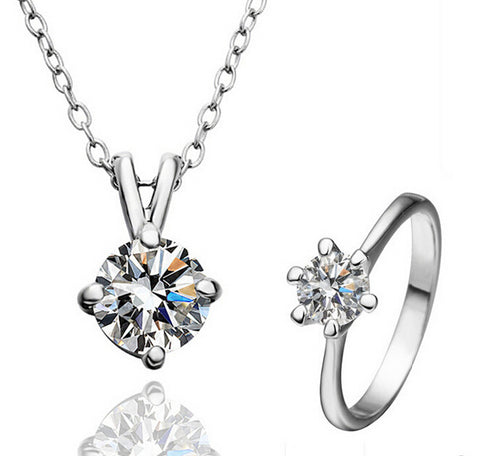 Cute Lover's Gift Crystal Pendant Necklace Ring Set - shoppingridge