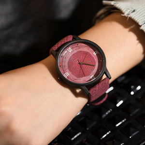 Leather Quartz Fashion Wooden Watch for Women