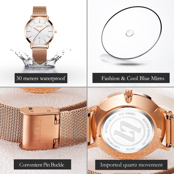 Upscale Design Stainless Steel Water Resistant Watch - shoppingridge