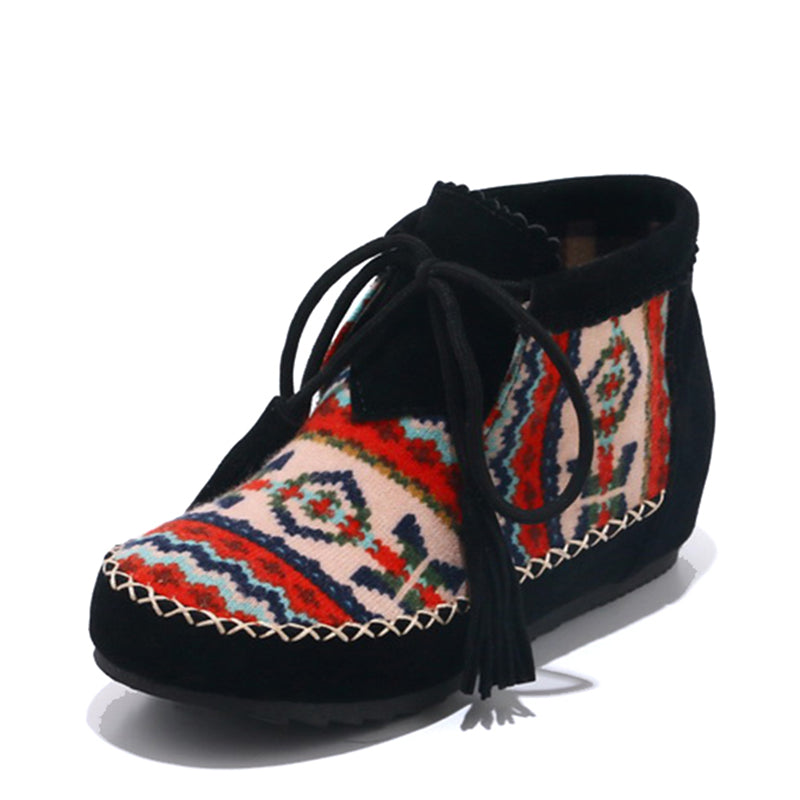 Embroider Flock Lace Up Ankle Boots For Woman - shoppingridge