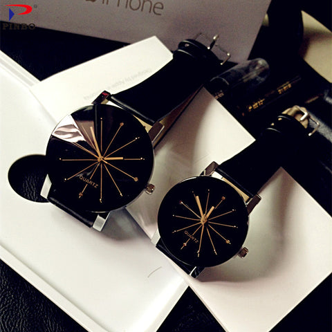 Fashion Couple Quartz Leather Dial Hour Watches For Unisex