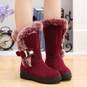 Luxury Fur Warm Mid Calf Buckle Snow Boots for Women
