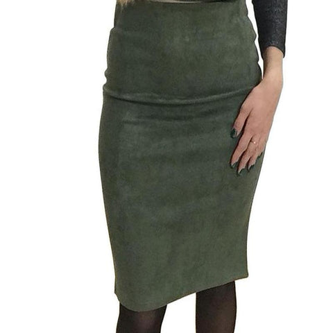 Female High Waist Split Knee Length Pencil Skirts - shoppingridge