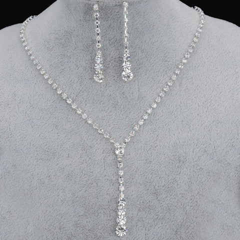 Silver Plated Celebrity Style Crystal Necklace & Earrings Set - shoppingridge