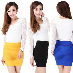 High Waist Candy Color Plus Large Elastic Pleated Skirt - shoppingridge