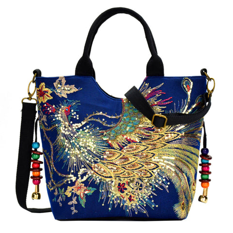Peacock Embroidery  Stylish Canvas Hand Bag For Women