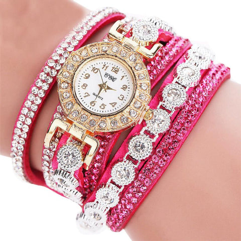 Women's PU Leather Rhinestone Bracelet Watches