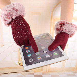 Women Warm Play Phone Fur Gloves - shoppingridge