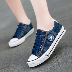 Star Denim Canvas Fashion Basket Sneakers - shoppingridge
