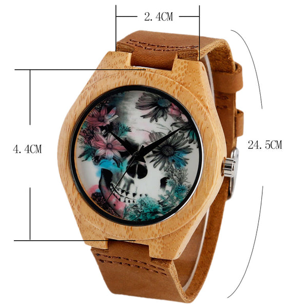Flower Skull Design Handmade Leather Nature Wood Watch - shoppingridge