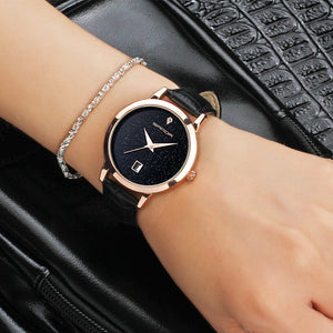 Quartz Waterproof Leather Bracelet Wrist Watch for Women