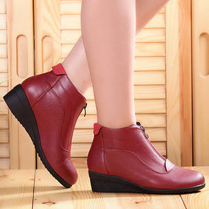 Round Toe Zipper PU Leather Ankle Boots For Women