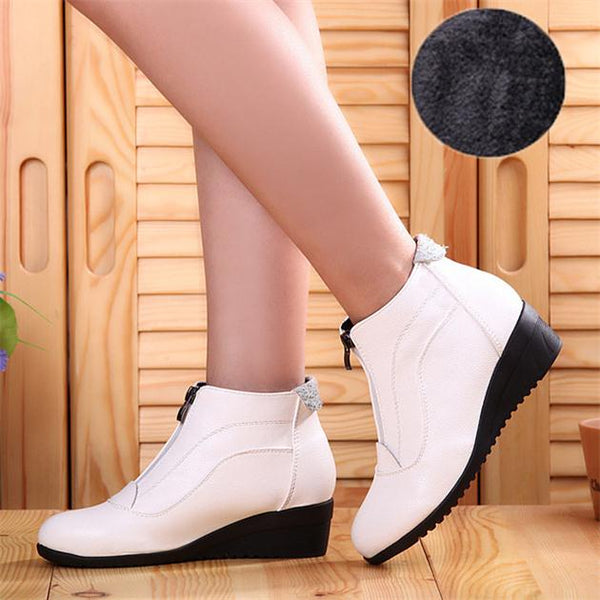 Round Toe Zipper PU Leather Ankle Boots For Women - shoppingridge