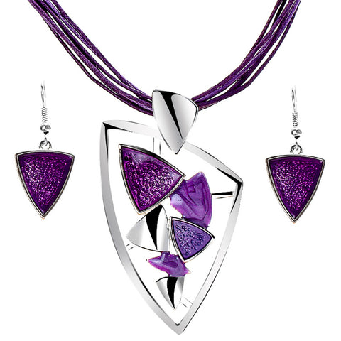Leather Chain Enamel Gem Jewelry Sets for Party