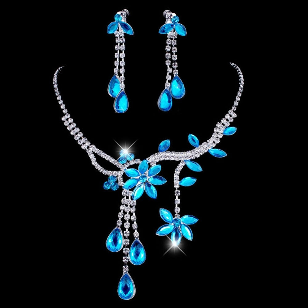 New Rhinestone Crystal Necklace & Earrings Jewelry Set - shoppingridge