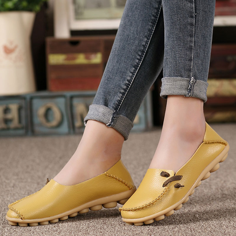 Genuine Leather Flats  Non-Slip Outdoor Shoes For Women - shoppingridge