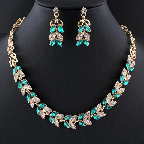 Charming  Green Glass Crystal Necklace Earrings Set