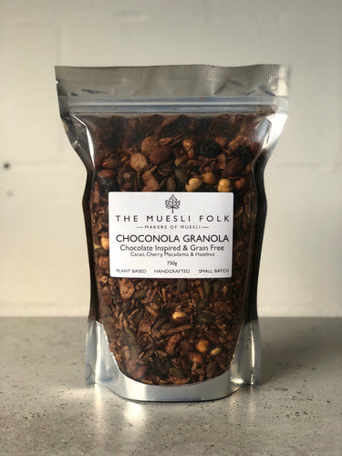 Choconola Granola - The Muesli Folk Granola vegan plantbased glutenfree  Vegan Toasted Small Batch Seeds Plant Based Paleo Organic Nuts No Refined Sugar No Preservatives No oil Muesli Maple Handcrafted Granola Grain Free Gluten Free Currants Crunchy Chocolate Cherry Cacao Baked