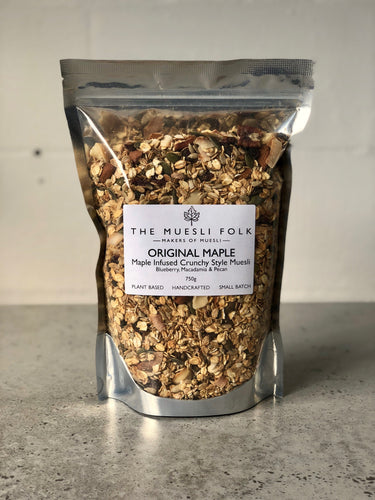 Original Maple - The Muesli Folk No Refined Sugar No Preservatives Snack Gut Health Muesli Granola Crunchy Vegan No oil Traditional Toasted Small Batch Seeds Plant Based Organic Nuts Maple Grains Baked
