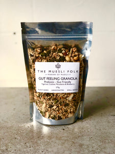 Gut Feeling Granola - The Muesli Folk Vegan Toasted Small Batch Seeds Prebiotic Plant Based Paleo Organic Nuts No Refined Sugar No Preservatives No oil Muesli Maple Handcrafted Gut Health Gut Friendly Granola Grain Free Gluten Free Crunchy Baked