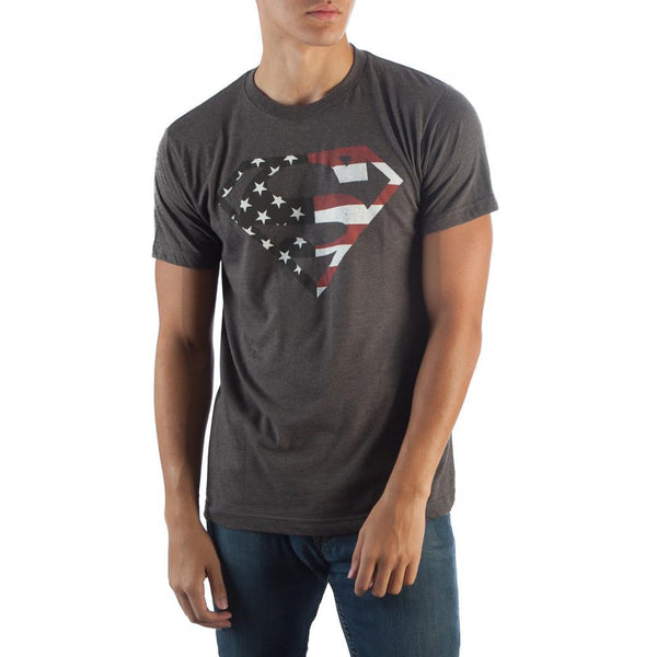 "Superman American ""S"" Logo Gery T-Shirt Men"